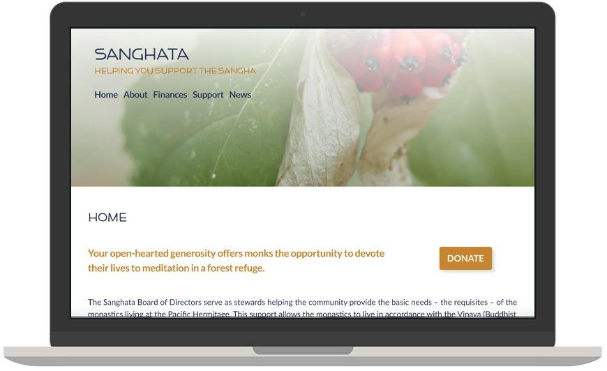 Sanghata website laptop view
