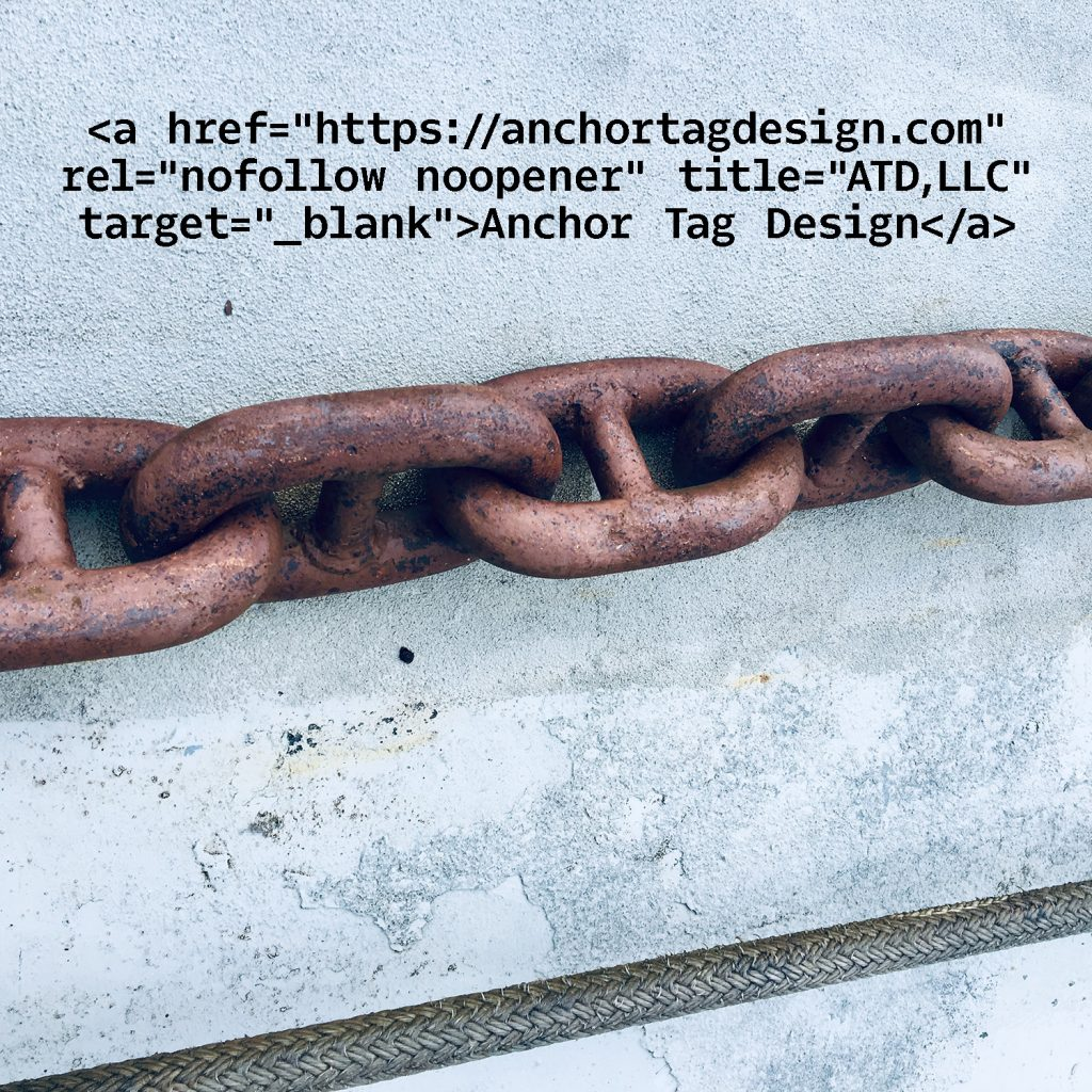 Link text and chain on concrete