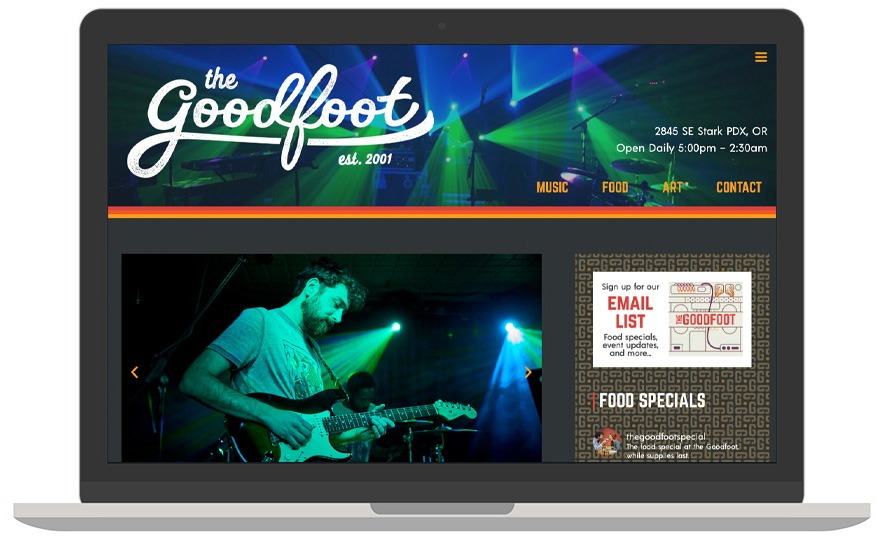 The Goodfoot website laptop view