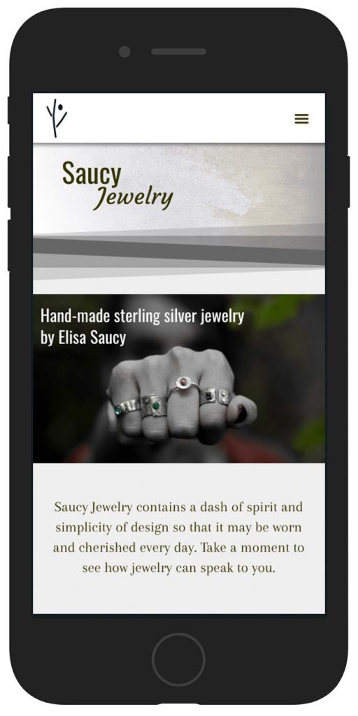 Saucy Jewelry website mobile view