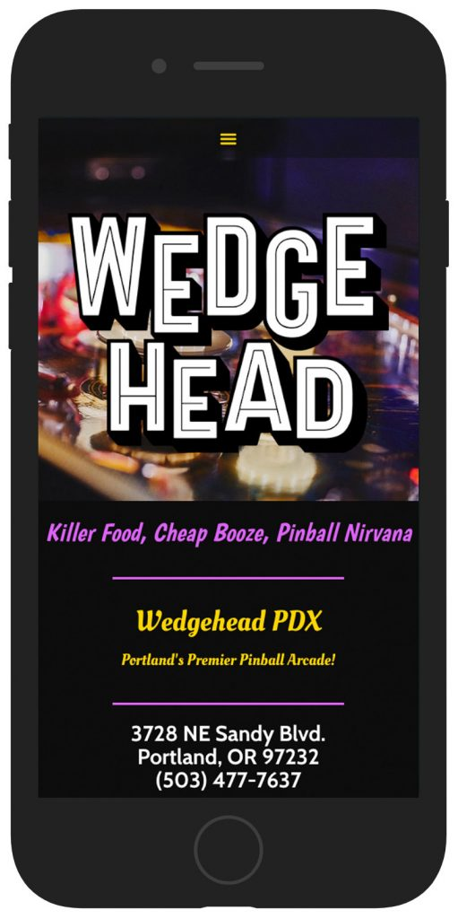 Wedgehead website mobile view