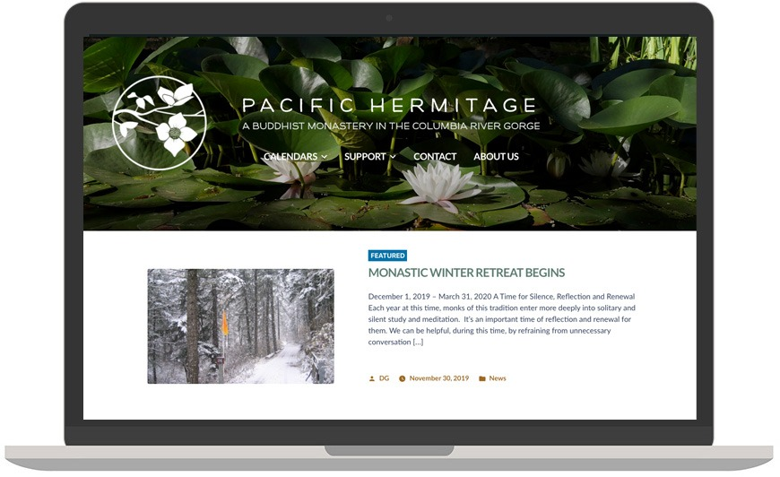 Pacific Hermitage website in laptop view