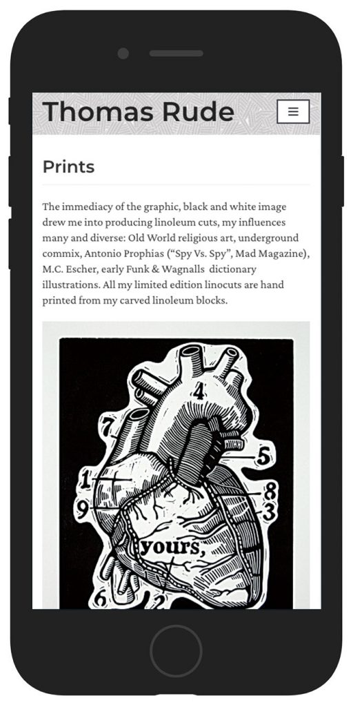 Thomas Rude's website as mobile view mockup