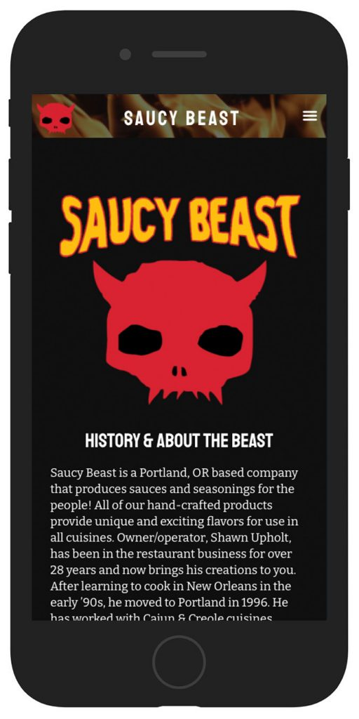 Saucy Beast mobile view
