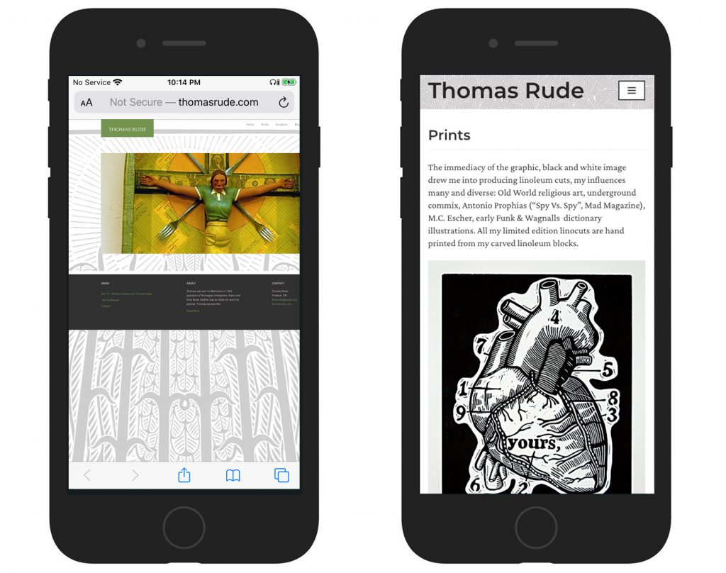 Thomas Rude's site before and after